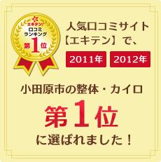人気口コミサイトエキテンで小田原市の整体・カイロ第1位に選ばれました。